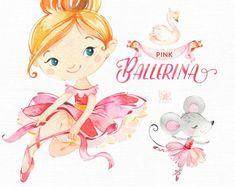 Mint Ballerina Watercolor clipart little girl ballet Cute Illustration, Watercolor Illustration, Floral Watercolor, Watercolor Design, 2 Clipart, Girl Clipart, Little Girl Ballet, Conception Web, Cute Little Girls