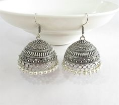 Antique Silver Big jhumka with Pearl Drops/Indian by Beauteshoppe