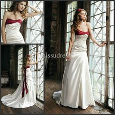 Wholesale 2013 new design sweetheart bow in back elastic satin fabric red and ivory bridal wedding dress, Free shipping, $120.26/Piece | DHgate Mobile