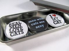Real Men Love Cats Magnet Set / Cat Magnet Trio / by westwildwood, $5.95