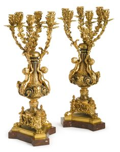 A PAIR OF GILT AND PATINATED BRONZE SIX LIGHT CANDELABRAS<br>Paris, late 19th/early 20th century | Lot | Sotheby's