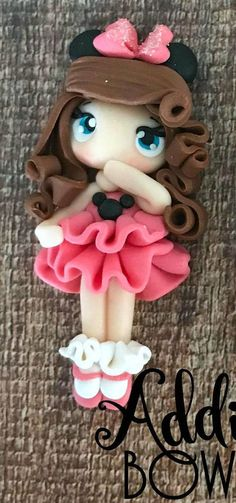 This sweet disney girl stands about 2 inches tall. If you would like her to be used as a pendant, an eye pin will be used at the top of the piece. My clay creations are made of quality polymer clay and are bonded together with liquid clay and metal pins. Each creation is designed and