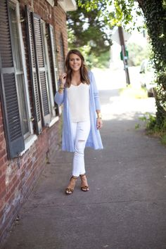 Glitter & Gingham - A Kentucky Style Blog. Nude top+white ripped jeans+leopard pring ankle strap heeled sandals+light blue long cardigan. Summer outfit 2016