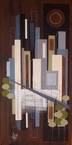 El gato gomez painting retro 1960's mid century modern eames cityscape city mod