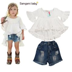 9.41$  Buy now - http://aliyh2.shopchina.info/go.php?t=32780792562 - children's clothing sets fashion baby girls T shirt+Jeans short pants 2 pcs kids summer clothing suit papa baby girl set 16041  #bestbuy