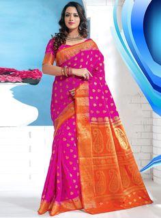 Magenta Art Silk Saree With Blouse 94213