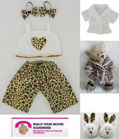 4f00913253d Build a Bear fit Teddy Bear Clothes LEOPARD PJ s Slippers Optional  Robe Slippers Build A