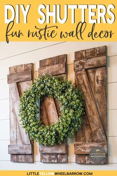 A DIY home decor project that is perfect for a beginner woodworker. These farmhouse style decorative shutters only require a few simple materials and come together quickly. Come check out this project on the blog! #easydiyprojects #walldecor #woodworking #farmhousestyle