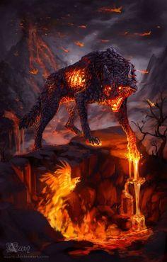 Power of Magma by Azany on DeviantArt - Ember wolf – lower demon - Dark Fantasy Art, Fantasy Wolf, Fantasy Beasts, Fantasy Artwork, Mythical Creatures Art, Mythological Creatures, Magical Creatures, Fantasy Creatures, Demon Wolf