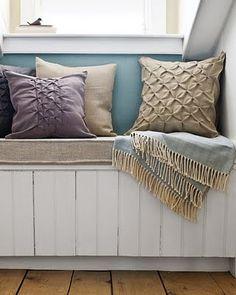 color palette: gray, white, lavender, light blue and tan