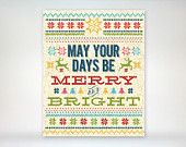 8x10 art print - Fair Isle/Knit Christmas - Holiday Sweater Inspired - May Your Days Be Merry & Bright - Colorful Knit Pattern Poster Print