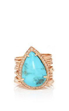 Pave teardrop turquoise multi waifs ring by JACQUIE AICHE for Preorder on Moda Operandi