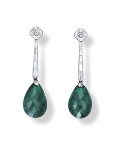 A PAIR OF EMERALD AND DIAMOND EAR PENDANTS Each set with a double rose-cut emerald weighing 10.72 and 11.67 carats, suspended by a line of tapered baguette-cut diamonds, to the cut-cornered square-cut diamond top weighing 0.91 and 0.92 carat, mounted in white gold, 4.9 cm long