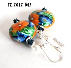 Orange Flower Earrings with Blue Flowers and Swarovski Crystals Poly | bluemorningexpressions - Jewelry on ArtFire