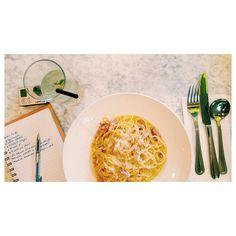 Almoço: Spaguetti à Carbonara, meu preferido. 🍝 #30diasdeLondres
