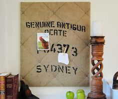 Coffee sack (burlap / hessian) repurposed as notice board. Can definitely do this.