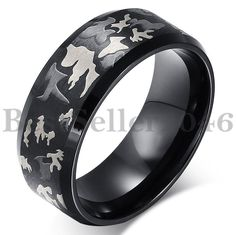 Black Stainless Steel Mens Hunting Camouflage Design Band Wedding Ring Size 6-14 #Unbranded #Band