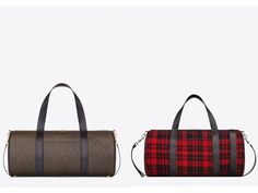 SAINT LAURENT SPORT BAG SAINT LAURENT IN RED AND BLACK TARTAN WOOL AND BLACK LEATHER