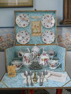 "~~~ Beautiful French Porcelain Service in Original "" Au Bon Marche"" from whendreamscometrue on Ruby Lane $749"