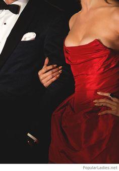 Elegant bright red dress design