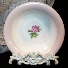 Homer Laughlin Moss Rose Coupe Cereal Bowl -- Circa 1942