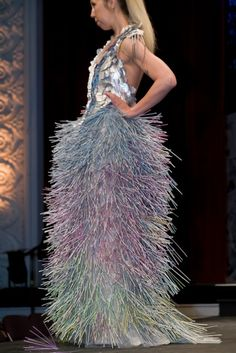 Sonoma Trashion Show, 2011. Dress made of straws and vitamin drink package wrappers