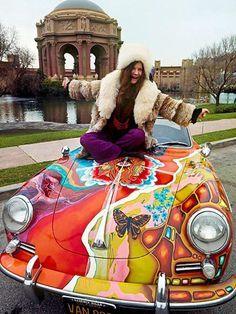 Janis Joplin with her Porsche convertible, 1965.   #rocksinger #songwriter #music #legend
