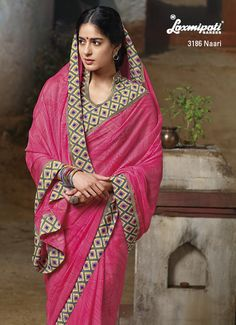 Plain pink chiffon saree look charming by printed blouse piece & lace....Exceptional Piece!