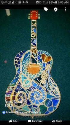 Mosaic Blue Guitar Mama Katz Mosaics  Carolan Lassiter