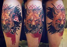 Еще одна законченная работка  #лиса #лис #рыжая #Москва #тату #трешполька #реализм #черный #красный #fox #foxy #red #black #Moscow #trashpolka #realism #tattoos #tattoo