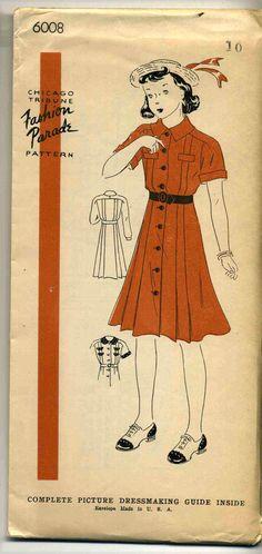 Vintage 1940's Chicago Tribune Fashion Parade Pattern 6008 Girl's Dress Sz 10   eBay