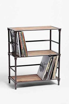 "Vinyl Storage Shelf - Urban Outfitters - Length: 24.5"" - Depth: 13"" - Height: 29.5"" - Height between shelves: 13"""