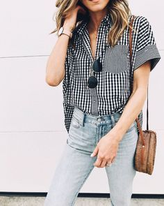 Gingham button down shirt, denim Street style, street fashion, best street style, OOTD, OOTD Inspo, street style stalking, outfit ideas, what to wear now, Fashion Bloggers, Style, Seasonal Style, Outfit Inspiration, Trends, Looks, Outfits.