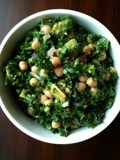 Chickpea, Avocado + Kale Salad -- So yummy. Added yellow cherry tomatoes as well and it was fabulous. Need more kale!