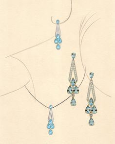 Art Deco style aquamarine earrings and pendant pictured with the jewel rendering in gouache