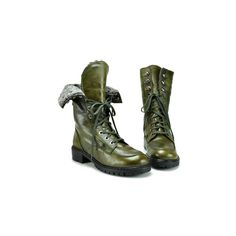 Stuart Weitzman - Workman - Olive Leather Combat Boot at... ($395) ❤ liked on Polyvore