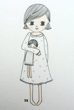 illustration girls room | illustratie meisjeskamer www.kinderkamervintage.nl