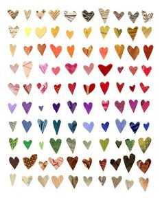 I'm going to make this for my husband for Valentines Day. No directions, but I think I can figure this out. 100 hearts in a 10x10 grid, made from an array of scrapbook papers, arranged to reflect the spectrum. Use a nice watercolor paper or similar, and 100 sticky dots instead of glue (the kind scrapbookers use). Put it in a frame with a pre-cut square mat. Yay!