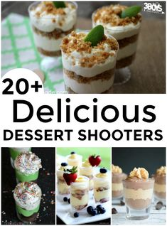 Mini Shooter Dessert Recipes Have you had any mini dessert shooters yet? Basically, shooter desserts are tiny versions of classic desserts that are served in tall shot glasses. They're adorable and yummy and, if you'r Mini Desserts, Mini Dessert Recipes, Individual Desserts, Bite Size Desserts, Small Desserts, Classic Desserts, Party Desserts, Delicious Desserts, Egg Desserts