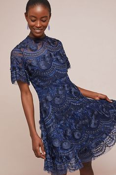 Shoshanna Blanche Embroidered Dress, presented by Anthropologie. With feminine ruffles, this intricate, expertly embroidered dress will turn heads at any event. Petite Cocktail Dresses, Petite Dresses, Ladies Dresses, Dresses Dresses, Blue Dresses, Fit Flare Dress, Fit And Flare, Boho Outfits, Fashion Outfits