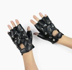 Rock Star Studded Fingerless Gloves (1 pair),   Def Planet defplanet.com