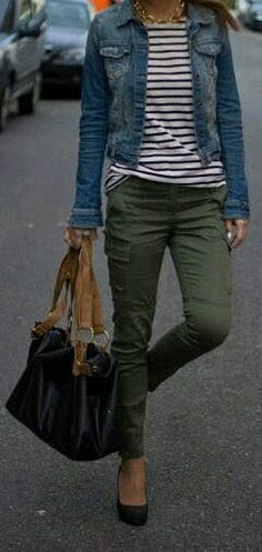 Like the colors and the casual look. Heels are too much, need a flat or something lower. Bag is too clunky looking.