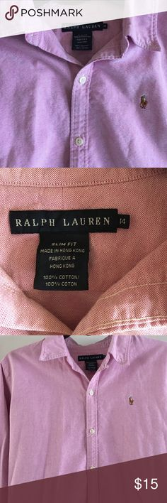 Ralph Lauren button down Pink Ralph Lauren button down. Slim fit size 14. Excellent condition. Ralph Lauren Tops Button Down Shirts