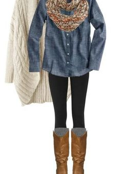 love the denim with black leggings, boots and scarf for fall