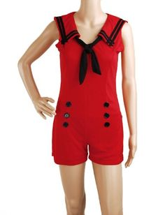 Jumpsuit Red Sailor Nautical 50s Pin up Vintage Retro Rockabilly Women's Playsuit Size S , Small