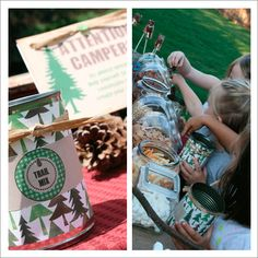 trail mix station (cover cans with paper to use as containers).  Also had a good idea to use tree stumps as seating
