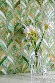 Margot, a jewel glass waterjet mosaic, is shown in Emerald.     Copyright New Ravenna Mosaics 2013