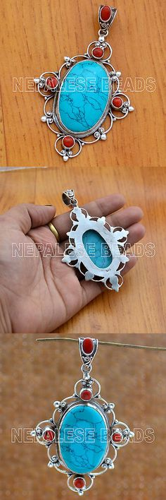 Necklaces and Pendants 98511: Ss32 Nepalese Artisan Handmade Sterling Silver Turquoise Coral Pendant -> BUY IT NOW ONLY: $79.99 on eBay!
