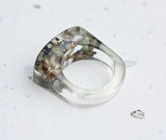 French Lavender Resin Ring Oblong Square Shape by daimblond, €25.00