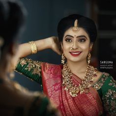 South India Jewels is a one stop destination to shop stunning South Indian Jewellery Designs. Shop the best of neckace,earrings,bangles,chokers and lot more from various brands at one place here! Indian Bride Poses, Bridal Sarees South Indian, Wedding Silk Saree, Indian Bridal Outfits, Indian Bridal Fashion, Pattu Saree Blouse Designs, Bridal Blouse Designs, Bride Reception Dresses, Bridal Dresses